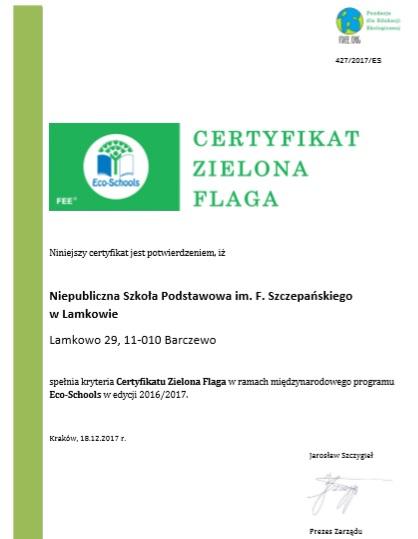 dyplom zielona flaga2017